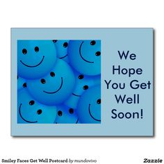 Smiley Faces Get Well Postcard
