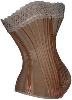 A long corset made by CK in Belgium, circa 1890. From the collection of L. Hidic, corsetsandcrinolines.com