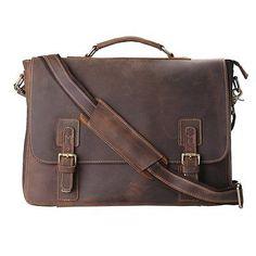 Kattee Mens Leather Satchel Briefcase 16