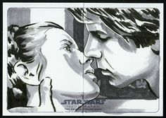 Artwork by licensed artist, Steve Oatney, for Topps Trading Cards - 'Star Wars The Empire Strikes Back Radio Show' hand-drawn original panoramic double-wide fold-out sketch-cards. #illustration #art #TraditionalArt #scifi #TESB #PrincessLeia #HanSolo #CarrieFisher #HarrisonFord