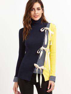 07e76cd80b44 Color Block Contrast Striped Bow Tie Ribbed T-shirt -SheIn(Sheinside)