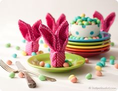Learn how to fold your own bunny napkins just in time for Easter via @Lindsey {Hot Polka Dot}.