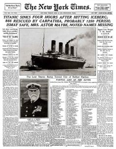 The front page of The New York Times of April 16, 1912.