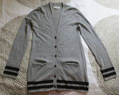 Rag Bone Gray Navy Striped Long Sleeve Button Down Cashmere Cardigan Sz 8 M   eBay