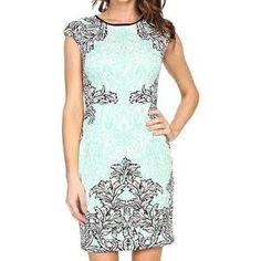 Maggy London Scroll Lace Scuba Sheath Women's Dress Soft White/Mint : 14