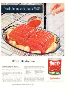 Hunt's Tomato Sauce - Quick Stunts With Hunt's - Because Spam-like slices could do without a bloody-red close up … Gross Food, Lemon Jello, Food Fails, Canned Meat, Retro Recipes, Spaghetti Sauce, Tomato Sauce, Amazing Cakes, Cooking