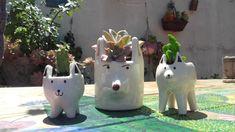 MANADA macetas zorro en 3 variedades cactus y suculentas cerámica #araberabarromoldeado  hecho a mano