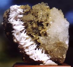Beautiful and attractive mix of Calcite on lemon Quartz! This specimen is fantastic as far as aesthetics go. Look at the  incredible growth of perfectly terminated Calcite crystals up the left side of the lemon-yellow Quartz matrix! From the Casapalca Mine in Casapalca, Peru. Measures 9 cm by 7.5 cm in size. Very flashy