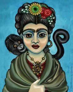 Frida with her monkey /// artist unknown