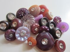 Vintage Buttons -21 assorted pastel colors, mainly shades of purple with rhinestones, old and sweet, acrylic, (feb 39) by pillowtalkswf on Etsy