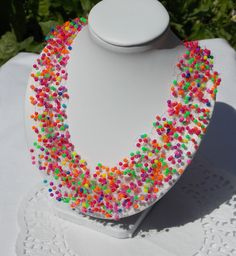 FREE SHIPPING Colored neon Necklace multistrand necklace Beads necklace air necklace mix colorful necklace bead crochet necklace trending - pinned by pin4etsy.com