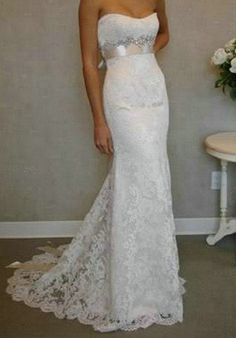 The latest white / ivory wedding dress sexy strapless by VEILDRESS, $145.00 Beautiful.