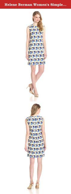 Helene Berman Women's Simple Loose Fit Shift Dress, Cobalt/Lime Geo, 16. Simple loose fit shift dress.