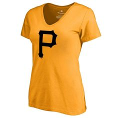 Pittsburgh Pirates Women's Secondary Color Primary Logo Slim Fit T-Shirt - Gold