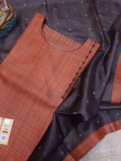 Dress Neck Designs, Kurti Neck Designs, Churidhar Designs, Simple Kurta Designs, Beautiful Dress Designs, Silk Kurti, Cotton Sarees Online, Kurti Embroidery Design, Saree Models