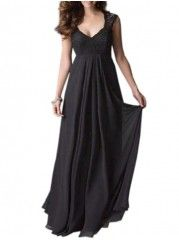 Plain Attractive V Neck Maxi Dress
