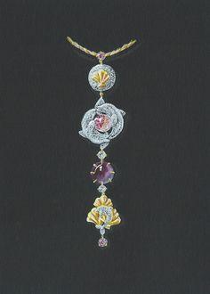 TONY FURION Pendentif ' dauphins dansants ' joaillerie gouaché jewellery…