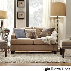 Modern Elston Linen Button Sloped Arm Sofa Loveseat with Track Living Room Decor Espresso Wooden Feet and Foam Seat Shaped T-cushion Light Brown