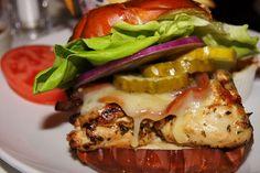 Image via We Heart It #burger #cheese #Chicken #fastfood #food #hamburger #lettuce #pickles #recipe #sandwich #summer #tomato #redonion