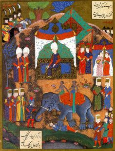 Ottoman execution of Serbian prisoners by elephant in Belgrade. Suleyman I captured Belgrade in 1521.  from the Süleymanname.