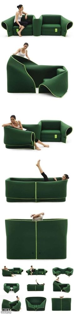 The transforming green couch...