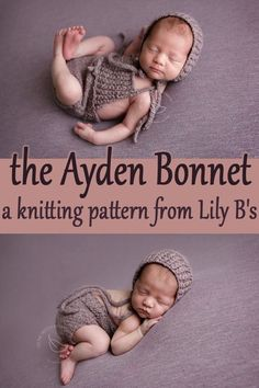The newborn Ayden Bonnet knitting pattern from Lily B's knits up quickly using your favourite DK weight yarn and needles. Knit flat, then seamed. Perfect for your next newborn photo session, or if you're a prop vendor, to stock your photography prop shop. Baby Hat Patterns, Baby Knitting Patterns, Newborn Photo Props, Newborn Photos, Diy Stationery Crafts, Bonnet Pattern, Bs As, I Cord, Dk Weight Yarn