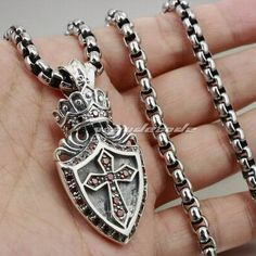 Solid 925 Sterling Silver Crown Cross Shield Mens Pendant 8N003 (Necklace 24inch)