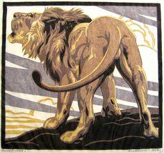 Lion - by Norbertine Bresslern-Roth (1891-1978) - Austrian linocut artist, animal and portrait miniature painter, and graphic designer.