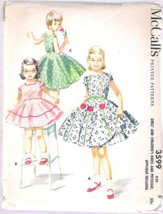 McCall's 3599 Vintage 1950's Girls' and Children's Dress and Petticoat, Applique Included; Size 3, Breast 22