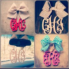 Monogram but the bow is cute car hanging accessories, preppy car accessorie Jeep Renegade, Lilo Stitch, Lilly Pulitzer, Gif Disney, Car Accessories For Girls, Cute Cars, Rear View Mirror, Car Mirror, Do It Yourself Home