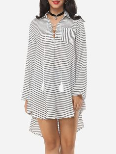 #Fashionmia - #Fashionmia Stripes Cross Straps Charming Small Lapel Shift-dress - AdoreWe.com