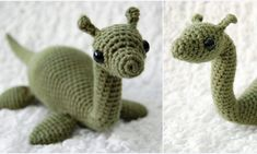 Jessica published her Loch Ness crochet pattern for free on Ravelry! Toys Patterns amigurumi ravelry Nessie pattern by 26 Donuts Cute Crochet, Crochet Crafts, Crochet Dolls, Yarn Crafts, Crochet Baby, Crotchet, Learn Crochet, Beautiful Crochet, Amigurumi Doll