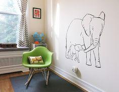 Montessori nursery with Elephant mural. #montessori #nursery #elephant
