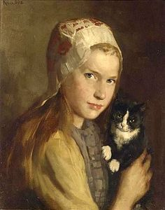 Hendrik Maarten Krabbé (born Heinrich Martin Krabbé) (Dutch artist) 1868 - 1931 A Girl with her Cat, s. oil on canvas x cm. Art And Illustration, Illustrations, I Love Cats, Crazy Cats, Photo Chat, Dutch Painters, Dutch Artists, Old Paintings, Cat People