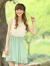 2013 summer women one-piece dress plus size empty thread color block pleated decoration slim waist chiffon skirt Green Chiffon Dress, Mint Dress, Ruffle Dress, Ruffles, Chiffon Skirt, Pli, Sweet Dress, Fashion Colours, Green Fashion