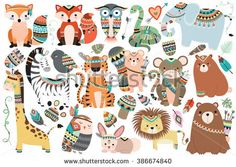 Tribal Animals 35 pc Clipart Set Graphics This listing is for two of my popular products in one package! You will receive my Woodland Tribal A by Kenna Sato Designs Pencil Illustration, Graphic Illustration, Vector Illustrations, Tribal Animals, Jungle Animals, Woodland Animals, Motifs Animal, Creative Sketches, Children Toys