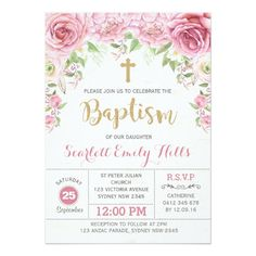 Customizable Invitation made by Zazzle Invitations. Pink Invitations, Digital Invitations, Christening Invitations Girl, Christening Party, Birthday Party Checklist, Baptism Cards, Baptism Decorations, Baby Girl Baptism, Rose Girl