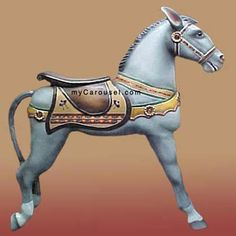 Looff Donkey- circa 1900 donkey believed to be from the Looff carousel at Caroga Lake, New York. The lively grey donkey in a kicking stance with scrollback saddle and trademark Looff jeweled rosettes on breastband and headstall.