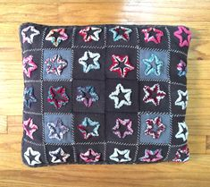 Antique vtg Mennonite Amish handmade stumpwork plushwork star quilt pillow | eBay