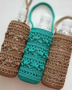 Beaded Crochet Bags – New Cheap Bags Crochet Kitchen, Crochet Home, Crochet Gifts, Free Crochet, Knit Crochet, Crochet Purses, Crochet Bags, Bottle Holders, Crochet Accessories