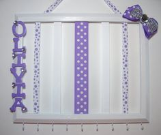 Hair bow and headband holder, personalized, picture frame, girls hair accessories organizer, childrens room decor, white, purple, rhinestone