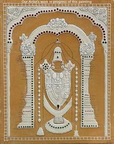 Perumal Venkateswara or Balaji Tanjore Tanjore Painting, Krishna Painting, Clay Wall Art, Clay Art, Clay Crafts, Arts And Crafts, Ornament Drawing, Diwali Gifts, Goddess Lakshmi
