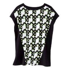 Peter Pilotto Green Black Netting Print Tee Shirt Top