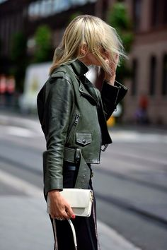 bottle green leather jacket
