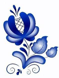 Folk Gzhel painting from Russia. A flower. #folk #art #Russian #patterns