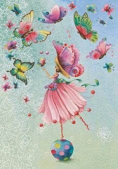 Whimsical Girl with Butterflies Diamond Painting Kit. Round drills Full Drills Fast S&H by OurCraftAddictions Art And Illustration, Illustrations, Pintura Graffiti, Art Papillon, Art Fantaisiste, Art Mignon, Butterfly Art, Butterflies, Cross Paintings