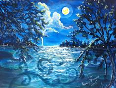 "For Sale: moonlight lake  by renee  dumont | $250 | 20""w x 16""h | Original Art | http://www.vangoart.co/buy/art/moonlight-lake @VangoArt"