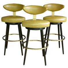 Set of three leather swivel barstools by Maurice Baily Of Monteverde Young Bar Furniture, Furniture Styles, Vintage Furniture, Leather Swivel Bar Stools, Mid Century Bar Stools, Vintage Stool, Dining Room Bar, Table And Chair Sets, Mid Century Modern Furniture