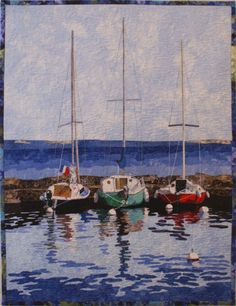 """Sailboats Quilt Pattern Sailboats Quilt Pattern, National Quilt Museum Shop.  Designed by Lenore Crawford and includes fusing pattern and instructions. Finished size is approximately 24""""x18""""."""