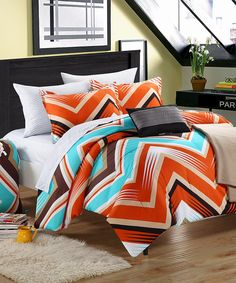 Take a look at this Orange & Blue Zigzag Comforter Set on zulily today!